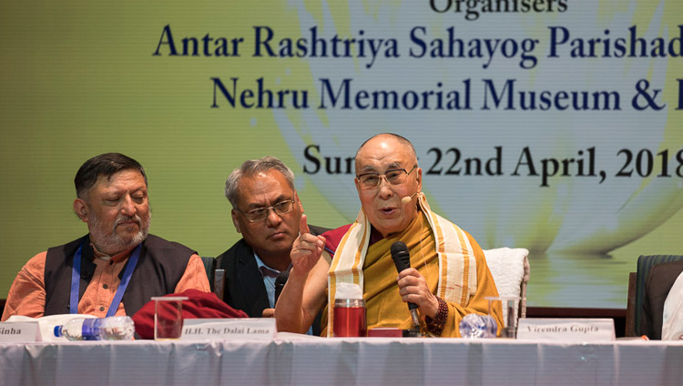 His Holiness the Dalai Lama speaking at the Nehru Memorial Museum and Library auditorium in New Delhi, India on April 22, 2018. Photo by Tenzin Choejor