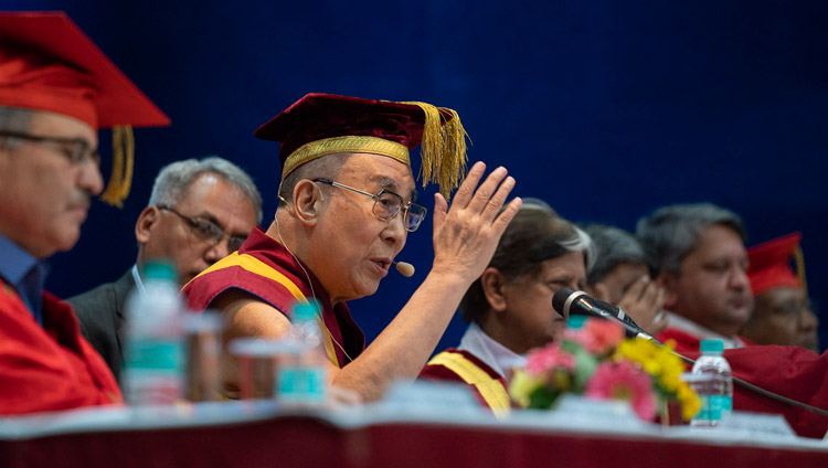 His Holiness the Dalai Lama delivering the Convocation Address at the Lal Bahadur Shastri Institute of Management in New Delhi, India on April 23, 2018. Photo by Tenzin Choejor