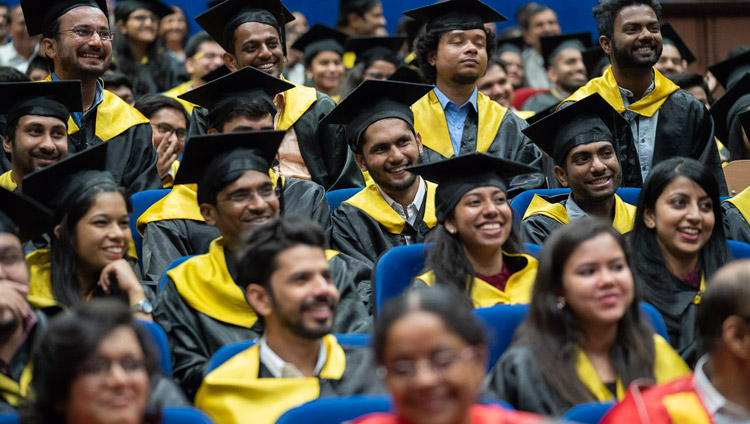 Graduates in the audience listening to His Holiness the Dalai Lama speaking at the Lal Bahadur Shastri Institute of Management Convocation in New Delhi, India on April 23, 2018. Photo by Tenzin Choejor