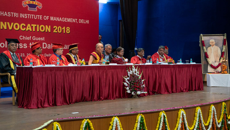 His Holiness the Dalai Lama speaking at the Lal Bahadur Shastri Institute of Management Convocation in New Delhi, India on April 23, 2018. Photo by Tenzin Choejor