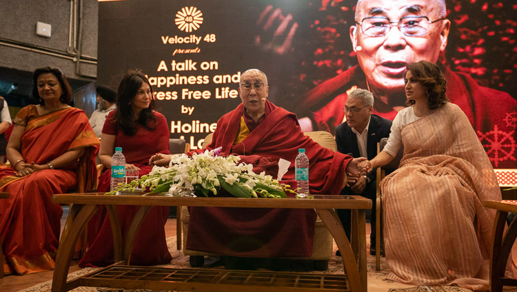 "His Holiness the Dalai Lama speaking on ""Happiness and a Stress-free Life"" at the IIT auditorium in New Delhi, India on April 24, 2018. Photo by Tenzin Choejor"