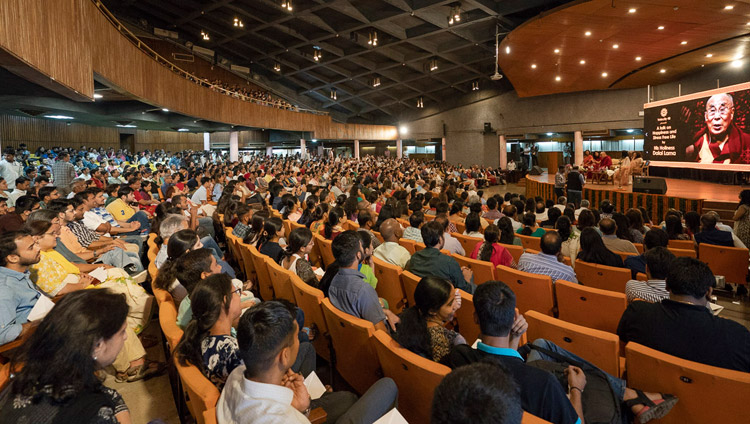 "Over 1500 people listening to His Holiness the Dalai Lama during his talk on ""Happiness and a Stress-free Life"" at the IIT auditorium in New Delhi, India on April 24, 2018. Photo by Tenzin Choejor"