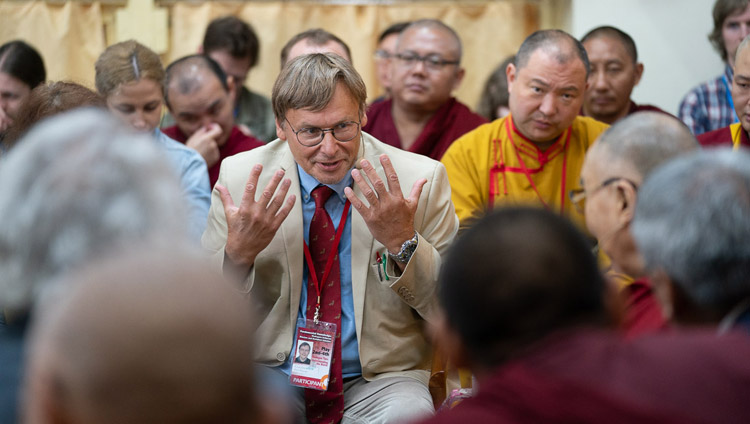 Moderator Prof Konstantin Anokhin thanking His Holiness the Dalai Lama for taking part in the Dialogue Between Russian and Buddhist Scholars in Dharamsala, HP, India on May 3, 2018. Photo by Tenzin Choejor