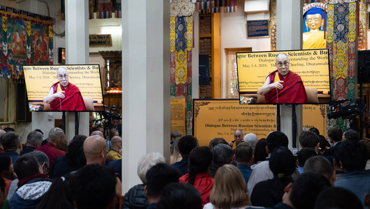 Members of the audience watching His Holiness the Dalai Lama speaking at the at the  Dialogue Between Russian and Buddhist Scholars in Dharamsala, HP, India on May 3, 2018. Photo by Tenzin Choejor