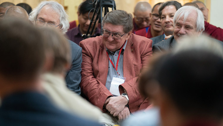 Prof Svyatoslav Medvedev listening to His Holiness the Dalai Lama commenting on his presentation at the Dialogue Between Russian and Buddhist Scholars in Dharamsala, HP, India on May 3, 2018. Photo by Tenzin Choejor