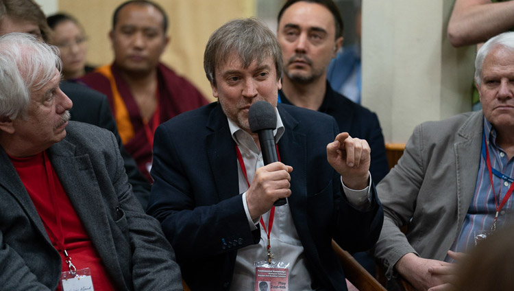Prof Evgeny Rogaev described his research into the brain at the Dialogue Between Russian and Buddhist Scholars in Dharamsala, HP, India on May 3, 2018.