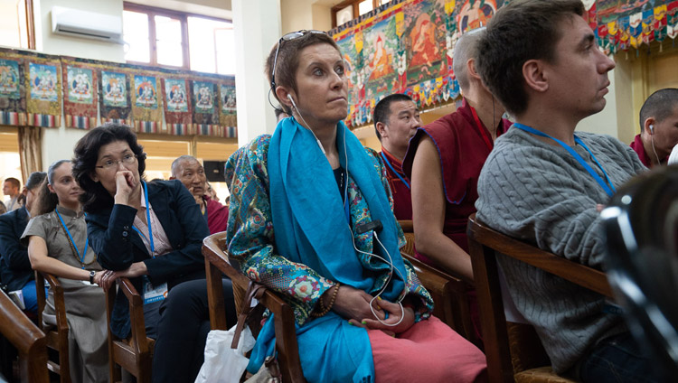 Members of the audience listening to Dr Namdol Lhamo's presentation on the second day of the Dialogue between Russian and Buddhist Scholars in Dharamsala, HP, India on May 4, 2018. Photo by Tenzin Choejor