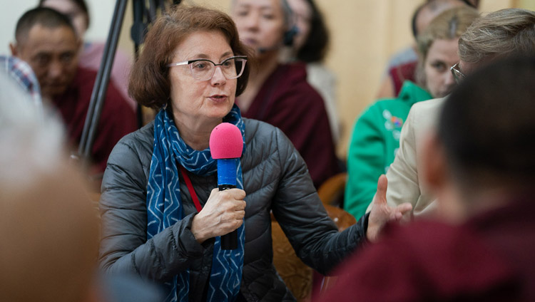 Prof Victoria Lysenko, a Russian specialist in Indian and Buddhist philosophy, speaking on the second day of the Dialogue between Russian and Buddhist Scholars in Dharamsala, HP, India on May 4, 2018. Photo by Tenzin Choejor