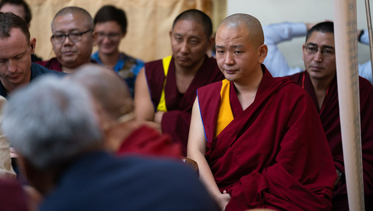 Some of the Buddhist scholars in the audience listening to His Holiness the Dalai Lama's comments n the second day of the Dialogue between Russian and Buddhist Scholars in Dharamsala, HP, India on May 4, 2018. Photo by Tenzin Choejor