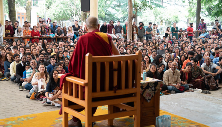 His Holiness the Dalai Lama addressing over 1000 people gathered at the Tsuglagkhang courtyard in Dharamsala, HP, India on May 19, 2018. Photo by Tenzin Choejor