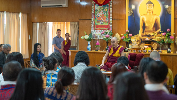 His Holiness the Dalai Lama speaking to groups from Vietnam at his residence in Dharamsala, HP, India on May 21, 2018. Photo by Tenzin Choejor