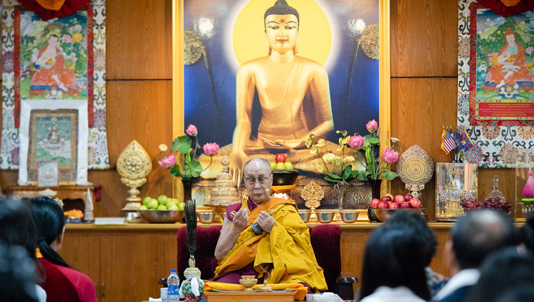 His Holiness the Dalai Lama undertaking the preparatory ritual for a White Manjushri Permission at the start of the second day of his meeting with groups from Vietnam at his residence in Dharamsala, HP, India on May 22, 2018. Photo by Tenzin Choejor