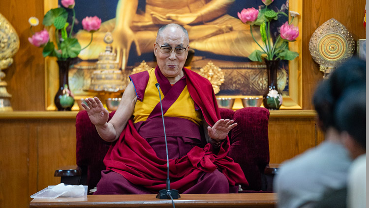His Holiness the Dalai Lama speaking to groups of students and teachers at his residence in Dharamsala, HP, India on June 1, 2018. Photo by Tenzin Choejor