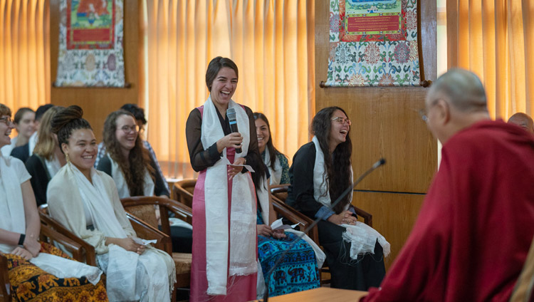 His Holiness the Dalai Lama answering questions from the audience during his meeting with students and teachers at his residence in Dharamsala, HP, India on June 1, 2018. Photo by Tenzin Choejor