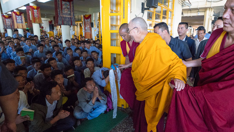 His Holiness the Dalai Lama greeting TCV students as he arrives at the Main Tibetan Temple in Dharamsala, HP, India on June 6, 2018. Photo by Tenzin Phuntsok