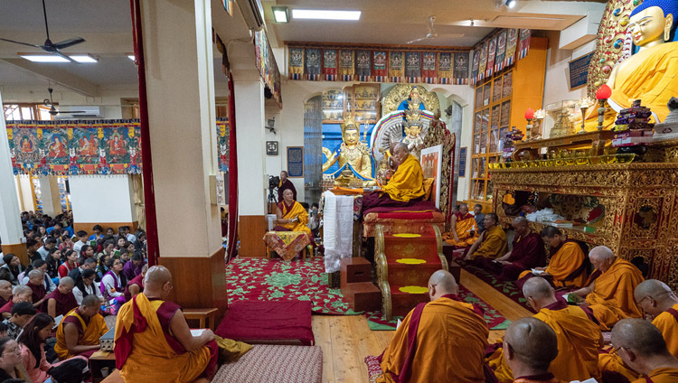His Holiness the Dalai Lama on the first day of his teaching for young Tibetan students at the Main Tibetan Temple in Dharamsala, HP, India on June 6, 2018. Photo by Tenzin Phuntsok