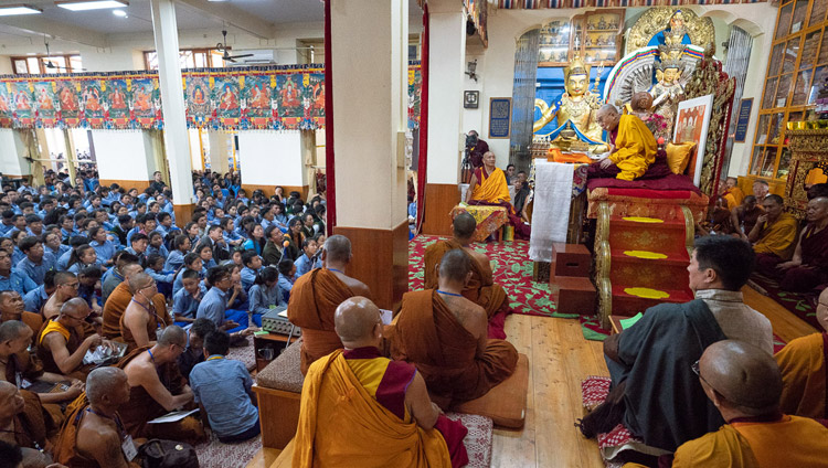 A view of the inside of the Main Tibetan Temple on the second day of His Holiness the Dalai Lama's teaching for young Tibetan students in Dharamsala, HP, India on June 7, 2018. Photo by Tenzin Phuntsok