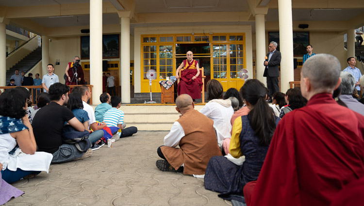 His Holiness the Dalai Lama speaking to visitors from India and abroad at the Main Tibetan Temple courtyard in Dharamsala, HP, India on June 9, 2018. Photo by Tenzin Choejor