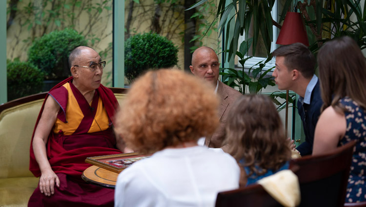 His Holiness the Dalai Lama giving an interview to the lrytas.tv channel in Vilnius, Lithuania on June 13, 2018. Photo by Tenzin Choejor