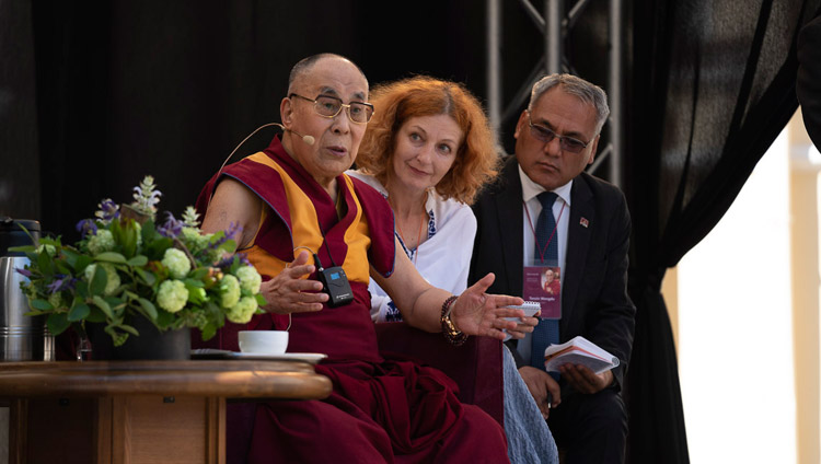 His Holiness the Dalai Lama speaking at the University of Vilnius in Vilnius, Lithuania on June 13, 2018. Photo by Tenzin Choejor