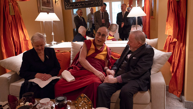 His Holiness the Dalai Lama meeting with former Lithuanian President Prof Vytautas Landsbergis in Vilnius, Lithuania on June 14, 2018. Photo by Tenzin Choejor