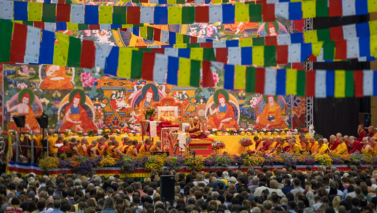 A view of the stage with His Holiness the Dalai Lama on the first day of his teachings at Skonto Hall in Riga, Latvia on June 16, 2018. Photo by Tenzin Choejor