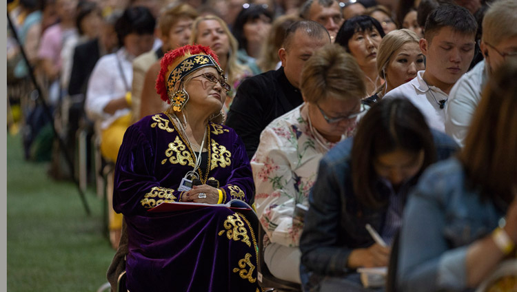 Some of the more than 4000 people attending the teachings listening to His Holiness the Dalai Lama at Skonto Hall in Riga, Latvia on June 16, 2018. Photo by Tenzin Choejor