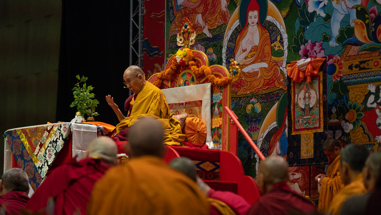 His Holiness the Dalai Lama conducting preparatory rituals for the Avalokiteshvara Empowerment on the final day of his teachings in Riga, Latvia on June 18, 2018. Photo by Tenzin Choejor