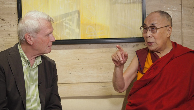 His Holiness the Dalai Lama giving an interview to Adriaan van Dis for Dutch television in New Delhi, India on July 2, 2018. Photo by Jeremy Russell