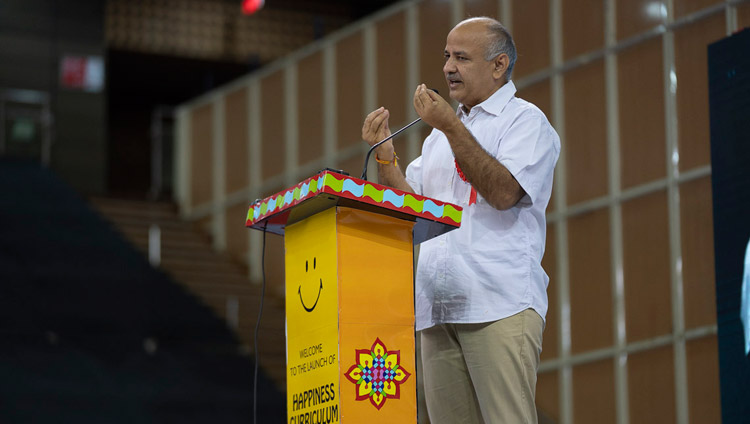 Delhi Deputy Chief Minister Manish Sisodia speaking at the Launch of the Happiness Curriculum in Delhi Government Schools in New Delhi, India on July 2, 2018. Photo by Tenzin Choejor