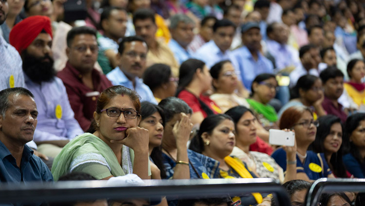 Some of the more than 5000 educators listening to His Holiness the Dalai Lama speaking at the Launch of the Happiness Curriculum in Delhi Government Schools in New Delhi, India on July 2, 2018. Photo by Tenzin Choejor