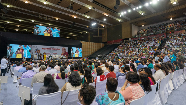 A view from the back of Thyagraj Stadium during the Launch of the Happiness Curriculum in Delhi Government Schools in New Delhi, India on July 2, 2018. Photo by Tenzin Choejor