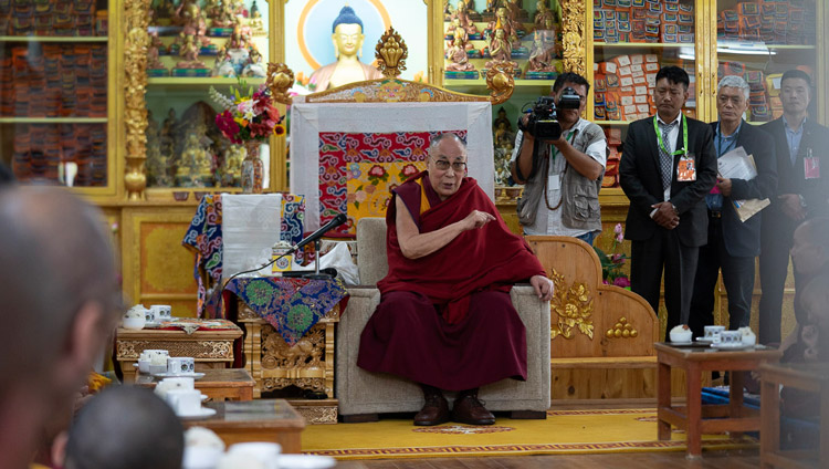 His Holiness the Dalai Lama speaking during the welcome ceremony on his arrival at his residence in Leh, Ladakh, J&K, India on July 3, 2018. Photo by Tenzin Choejor