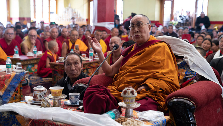 His Holiness the Dalai Lama delivering his remarks to the gathering at the Jokhang in Leh, Ladakh, J&K, India on July 4, 2018. Photo by Tenzin Choejor