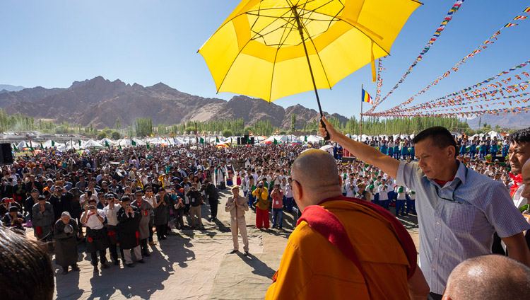 His Holiness the Dalai Lama greeting the crowd of over 25,000 on his arrival at the Shiwatsel Teaching Pavilion for celebrations on his 83rd birthday in Leh, Ladakh, J&K, India on July 6, 2018. Photo by Tenzin Choejor