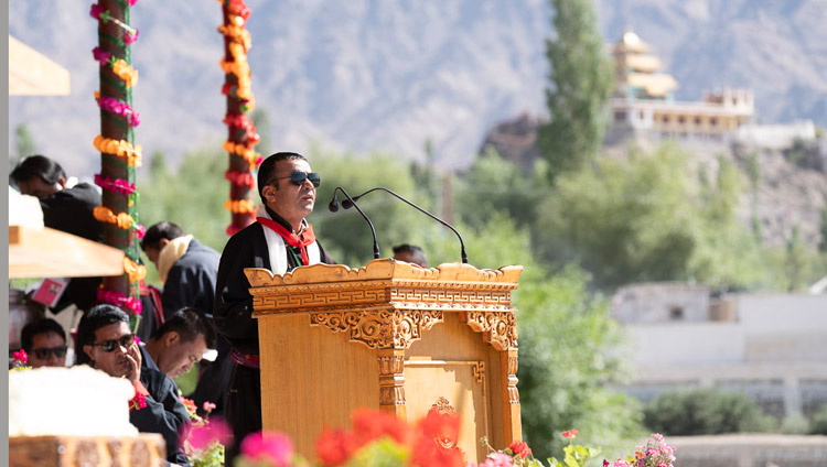 President of the Ladakh Buddhist Association Tsewang Thinles opening the celebrations on His Holiness the Dalai Lama's 83rd birtday at the Shiwatsel Teaching Ground in Leh, Ladakh, J&K, India on July 6, 2018. Photo by Tenzin Choejor