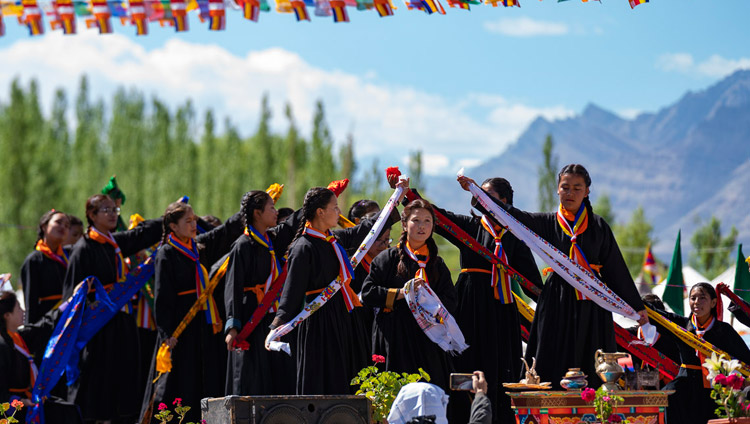 Girls from Ladakhi schools performing during celebrations on His Holiness the Dalai Lama's 83rd birthday in Leh, Ladakh, J&K, India on July 6, 2018. Photo by Tenzin Choejor