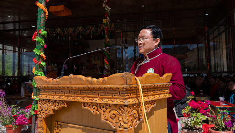 Director of the Tawang Foundation, Maling Gonbo, speaking at celebrations on His Holiness the Dalai Lama's 83rd birthday in Leh, Ladakh, J&K, India on July 6, 2018. Photo by Tenzin Choejor