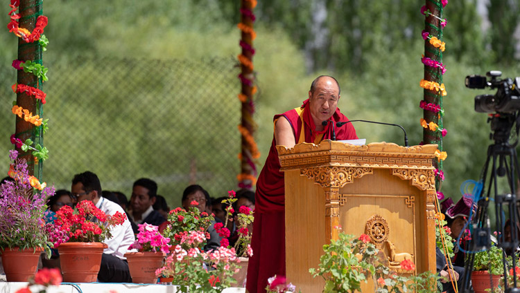 On behalf of the Buddhists of Mongolia Woeser Rinpoche speaking at celebrations on His Holiness the Dalai Lama's 83rd birthday in Leh, Ladakh, J&K, India on July 6, 2018. Photo by Tenzin Choejor
