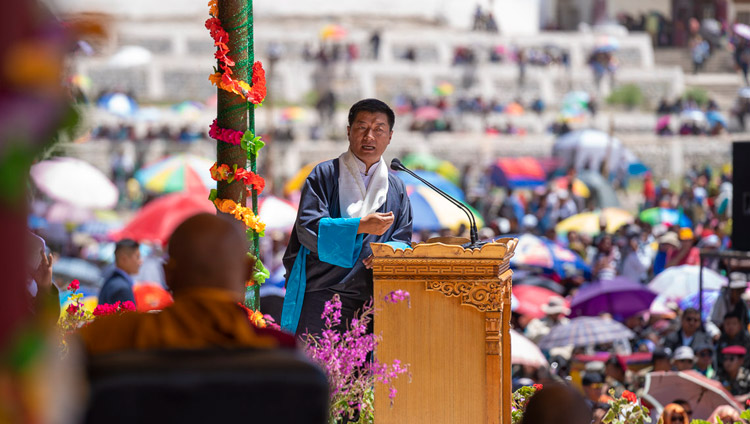 President of the CTA, Dr Lobsang Sangay, speaking at celebrations on His Holiness the Dalai Lama's 83rd birthday in Leh, Ladakh, J&K, India on July 6, 2018. Photo by Tenzin Choejor