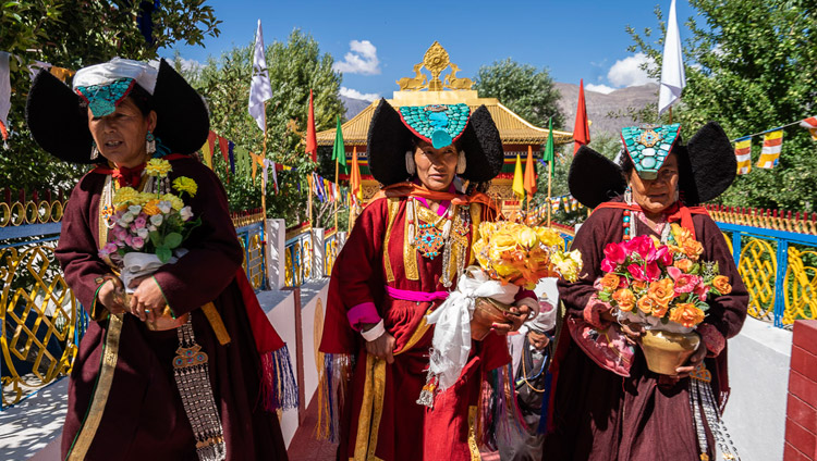Local women in Ladakhi traditional dress waiting for His Holiness the Dalai Lama's arrival at Samstanling Monastery in Sumur, Ladakh, J&K, India on July 14, 2018. Photo by Tenzin Choejor