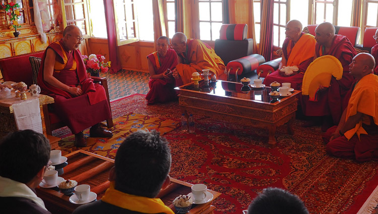 His Holiness the Dalai Lama speaking Gaden Trisur Rizong Rinpoche, senior monks, and special dignitaries during a welcome ceremony on his arrival at Samstangling Monastery in Sumur, Ladakh, J&K, India on July 14, 2018. Photo by Jeremy Russell