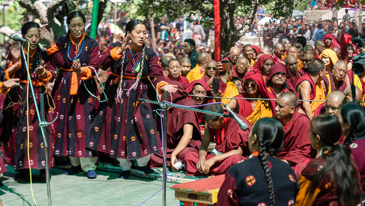 Members of lay-people's study group at Tiggur demonstrating Buddhist philosophical debate during the Inauguration of the Great Summer Debate at Samstanling Monastery in Sumur, Ladakh, J&K, India on July 15, 2018. Photo by Tenzin Choejor