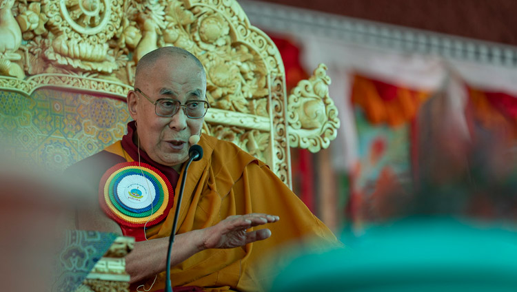 His Holiness the Dalai Lama addressing the crowd of over 8000 during the Inauguration of the Great Summer Debate at Samstanling Monastery in Sumur, Ladakh, J&K, India on July 15, 2018. Photo by Tenzin Choejor