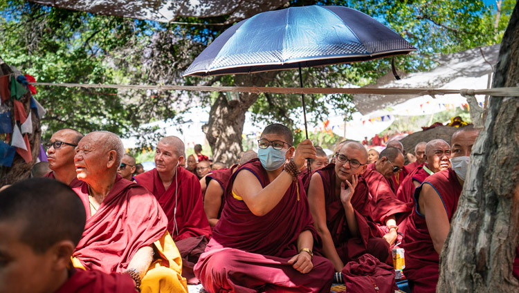 Members of the audience listening to His Holiness the Dalai lama during the Inauguration of the Great Summer Debate at Samstanling Monastery in Sumur, Ladakh, J&K, India on July 15, 2018. Photo by Tenzin Choejor