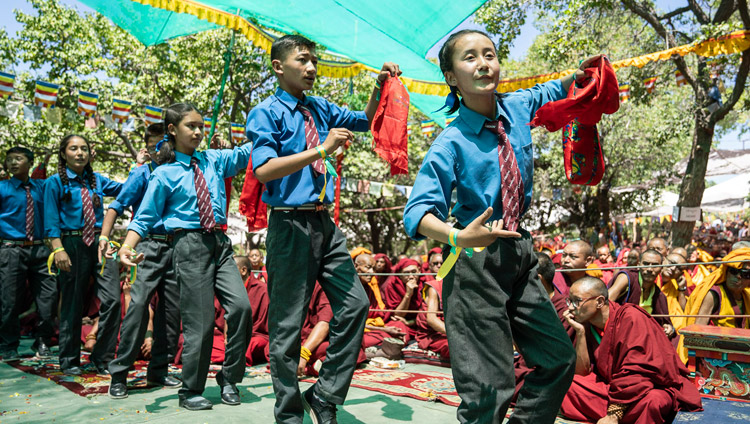 Children from Lamdon School singing and dancing as the Inauguration of the Great Summer Debate was coming to a close at Samstanling Monastery in Sumur, Ladakh, J&K, India on July 15, 2018. Photo by Tenzin Choejor