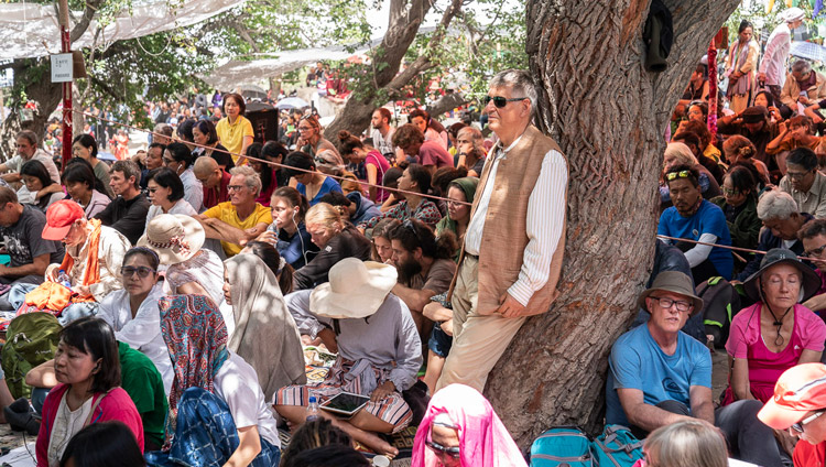 Visitors from around the world attending His Holiness the Dalai Lama's teaching at Samstanling Monastery in Sumur, Nubra Valley, Ladakh, J&K, India on July 16, 2018. Photo by Tenzin Choejor