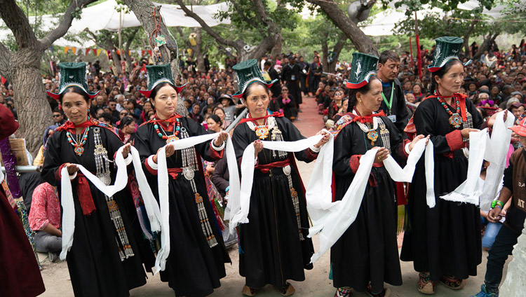 Local women in traditional dress performing at the during the Long-Life Offering at the Samstanling Monastery teaching ground in Sumur, Ladakh, J&K, India on July 17, 2018. Photo by Tenzin Choejor