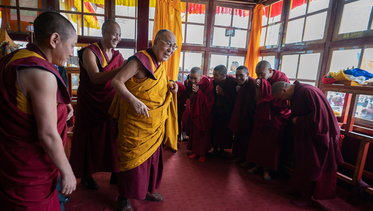 His Holiness the Dalai Lama greeting the monks who take care of the temple adjacent to the teaching ground in Padum, Zanskar, J&K, India on July 23, 2018. Photo by Tenzin Choejor