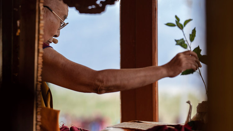 His Holiness the Dalai Lama engaging in preparatory procedures for the Avalokiteshvara Empowerment in Padum, Zanskar, J&K, India on July 23, 2018. Photo by Tenzin Choejor